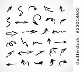 hand drawn arrows  vector set | Shutterstock .eps vector #633018632