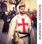 Small photo of Medieval Crusader during a representation outdoor, Altamura - Italy - 2016 April 24