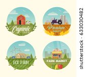 set of farm icons or logo with... | Shutterstock .eps vector #633030482