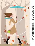 beautiful woman with umbrella... | Shutterstock .eps vector #63303301