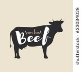 beef logo with lettering. farm... | Shutterstock .eps vector #633034028