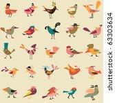 cute birds are in hats | Shutterstock .eps vector #63303634
