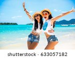 close up summer portrait of... | Shutterstock . vector #633057182