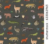animals of south america vector ... | Shutterstock .eps vector #633063965