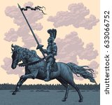 knight riding. hand drawn... | Shutterstock .eps vector #633066752
