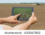 smart agriculture. farmer using ... | Shutterstock . vector #633067802