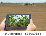 smart agriculture. farmer using ... | Shutterstock . vector #633067856