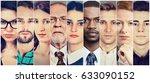 multiethnic group of serious... | Shutterstock . vector #633090152