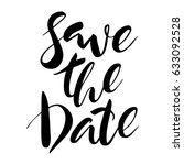 save the date hand lettering... | Shutterstock .eps vector #633092528