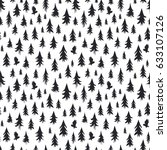 hand drawn forest silhouettes... | Shutterstock .eps vector #633107126
