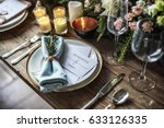 elegant restaurant table... | Shutterstock . vector #633126335