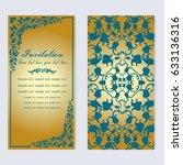 vintage invitation and wedding... | Shutterstock .eps vector #633136316