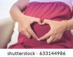 closeup of pregnant woman...   Shutterstock . vector #633144986