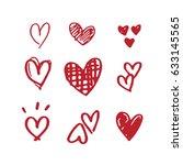 heart doodles  | Shutterstock .eps vector #633145565