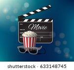 opened clapperboard  popcorn...   Shutterstock .eps vector #633148745