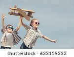 two little kids playing with... | Shutterstock . vector #633159332