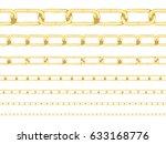 metallic gold chains in... | Shutterstock .eps vector #633168776