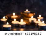 blurred many burning candles    ... | Shutterstock . vector #633195152