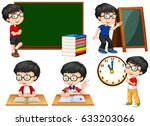 schoolboy doing different... | Shutterstock .eps vector #633203066