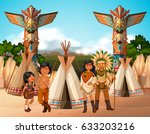 native american indians at camp ... | Shutterstock .eps vector #633203216