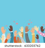 raised hands volunteering and... | Shutterstock .eps vector #633203762
