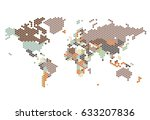 dotted world map of hexagonal... | Shutterstock .eps vector #633207836