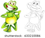 doodle animal for happy frog... | Shutterstock .eps vector #633210086