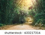 traveler woman with backpack... | Shutterstock . vector #633217316