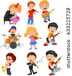 cartoon little kids playing... | Shutterstock .eps vector #633225728