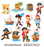 collection of cartoon pirate | Shutterstock .eps vector #633227612