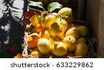 basket of fresh lemons on... | Shutterstock . vector #633229862