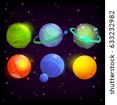 cartoon fantasy planets set on... | Shutterstock .eps vector #633232982