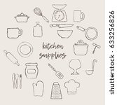 grey kitchen supplies icons.... | Shutterstock .eps vector #633256826