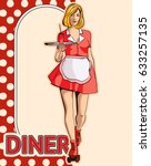 vintage waitress with a tray on ... | Shutterstock .eps vector #633257135