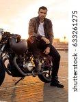 handsome rider guy with beard... | Shutterstock . vector #633261275