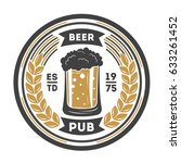 beer pub vintage isolated label ... | Shutterstock .eps vector #633261452