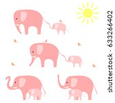Stock vector elephants with baby elephants vector illustration 633266402