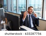 businessman making phone call... | Shutterstock . vector #633287756
