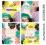 summer tropical vector cards... | Shutterstock .eps vector #633288188