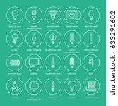 light bulbs flat line icons.... | Shutterstock .eps vector #633291602
