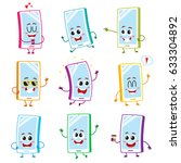 set of funny cartoon mobile... | Shutterstock .eps vector #633304892