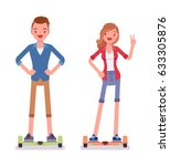 gyroscooter boy and girl riding ... | Shutterstock .eps vector #633305876