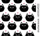 black cat head with little pink ... | Shutterstock . vector #633314522