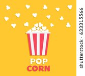 popcorn popping. red yellow... | Shutterstock . vector #633315566