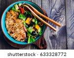 homemade organic greek salad... | Shutterstock . vector #633328772