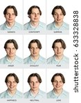 Small photo of A full chart of human microexpressions. A Caucasian male showing sadness, contempt, surprise, anger, disgust, fear, happiness, love, and a neutral expression