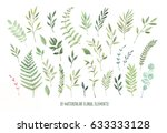 Hand drawn watercolor illustrations. Botanical clipart ( laurels, frames, leaves, flowers, swirls, herbs, branches). Floral Design elements. Perfect for wedding invitations, greeting cards, posters