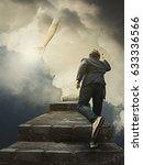 man running for help from god | Shutterstock . vector #633336566