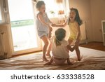 little girls having fun... | Shutterstock . vector #633338528