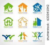 family home logo with abstract... | Shutterstock .eps vector #633341042